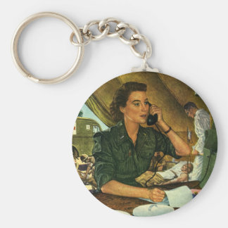 Vintage Patriotic, Medical Nurse on Phone Keychain