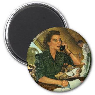 Vintage Patriotic, Medical Nurse on Phone Magnet