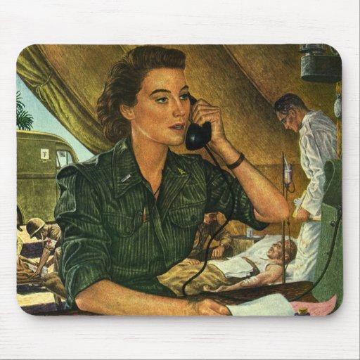 Vintage Patriotic, Medical Nurse on Phone Mouse Pad