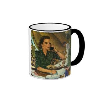 Vintage Patriotic, Medical Nurse on Phone Coffee Mug