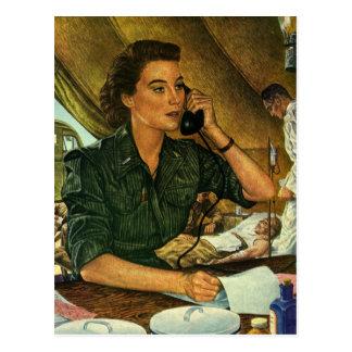 Vintage Patriotic, Medical Nurse on Phone Postcard