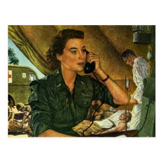 Vintage Patriotic Medical Nurse on Phone Postcards