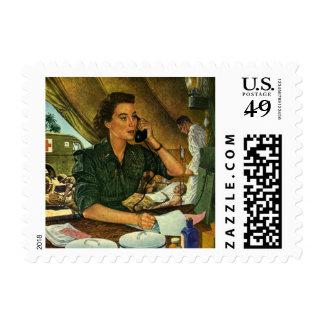 Vintage Patriotic, Medical Nurse on Phone Stamp