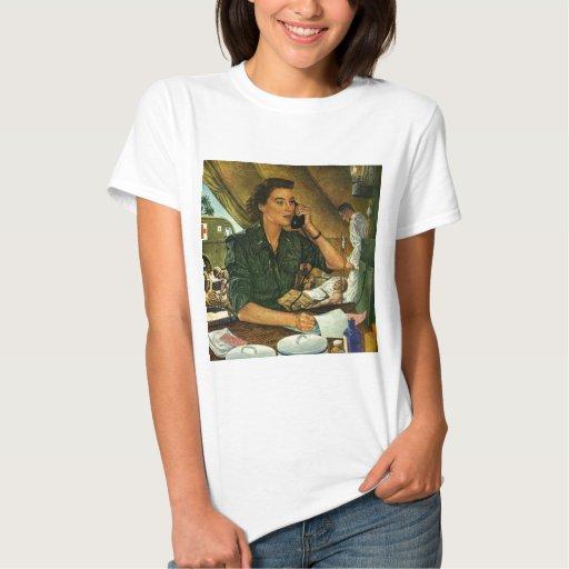 Vintage Patriotic, Medical Nurse on Phone T-shirts