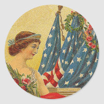 Vintage Patriotic Memorial Day Classic Round Sticker