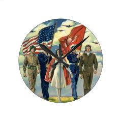 Vintage Patriotic, Military Personnel Round Wallclock