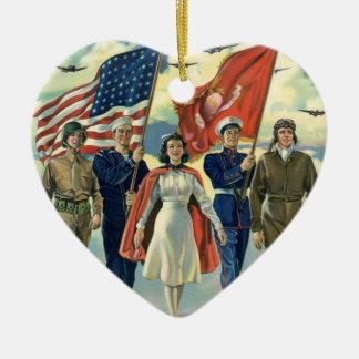 Vintage Patriotic Military Personnel Christmas Ornament