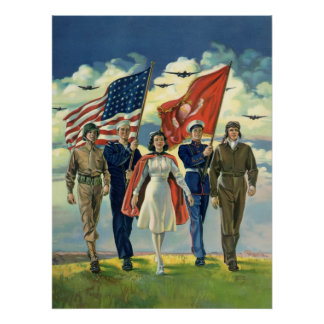 Vintage Patriotic, Military Personnel Poster
