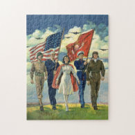 Vintage Patriotic, Military Personnel Puzzles