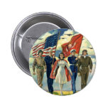 Vintage Patriotic, Proud Military Personnel Heros 2 Inch Round Button