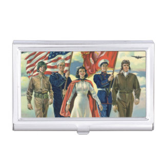 Vintage Patriotic, Proud Military Personnel Heros Case For Business Cards