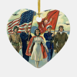 Vintage Patriotic, Proud Military Personnel Heros Ceramic Ornament