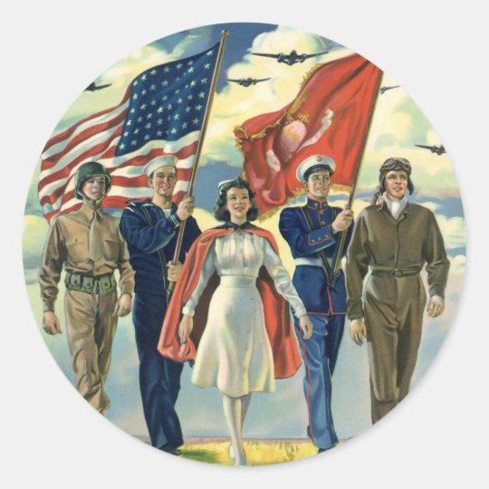 Vintage Patriotic, Proud Military Personnel Heros Classic Round Sticker