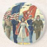 Vintage Patriotic, Proud Military Personnel Heros Drink Coaster