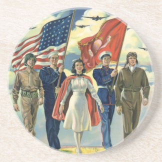 Vintage Patriotic, Proud Military Personnel Heros Coaster