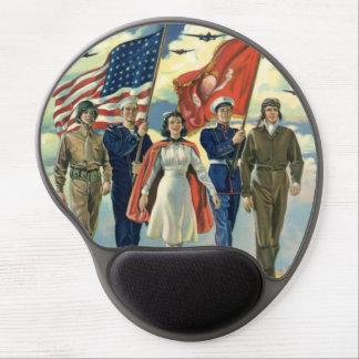 Vintage Patriotic, Proud Military Personnel Heros Gel Mouse Pad