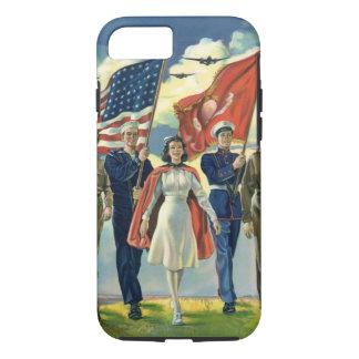 Vintage Patriotic, Proud Military Personnel Heros iPhone 8/7 Case