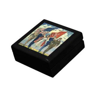Vintage Patriotic, Proud Military Personnel Heros Keepsake Box