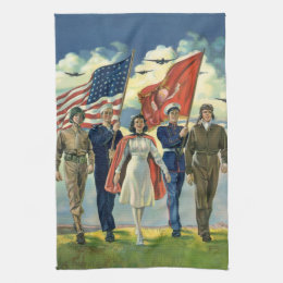 Vintage Patriotic, Proud Military Personnel Heros Kitchen Towel