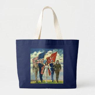 Vintage Patriotic, Proud Military Personnel Heros Large Tote Bag