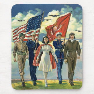 Vintage Patriotic, Proud Military Personnel Heros Mouse Pad