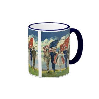 Vintage Patriotic, Proud Military Personnel Heros Ringer Coffee Mug