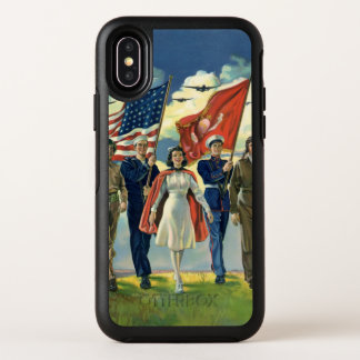 Vintage Patriotic, Proud Military Personnel Heros OtterBox Symmetry iPhone X Case