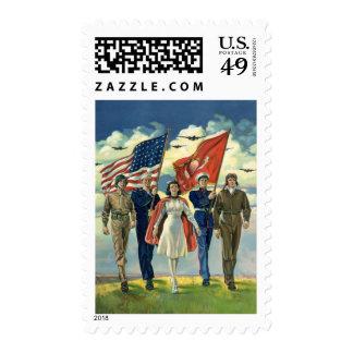 Vintage Patriotic, Proud Military Personnel Heros Postage
