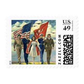 Vintage Patriotic, Proud Military Personnel Heros Postage Stamps