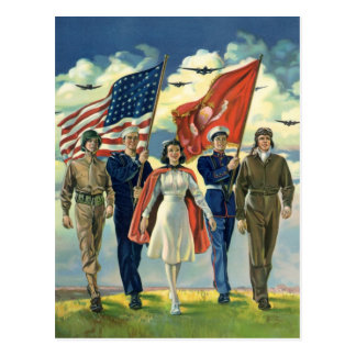 Vintage Patriotic, Proud Military Personnel Heros Postcard