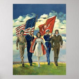 Vintage Patriotic, Proud Military Personnel Heros Poster
