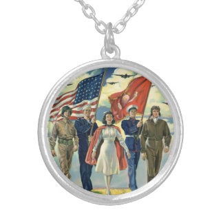 Vintage Patriotic, Proud Military Personnel Heros Silver Plated Necklace