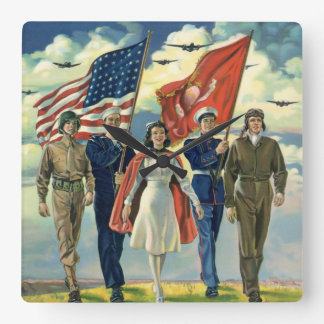 Vintage Patriotic, Proud Military Personnel Heros Square Wall Clock
