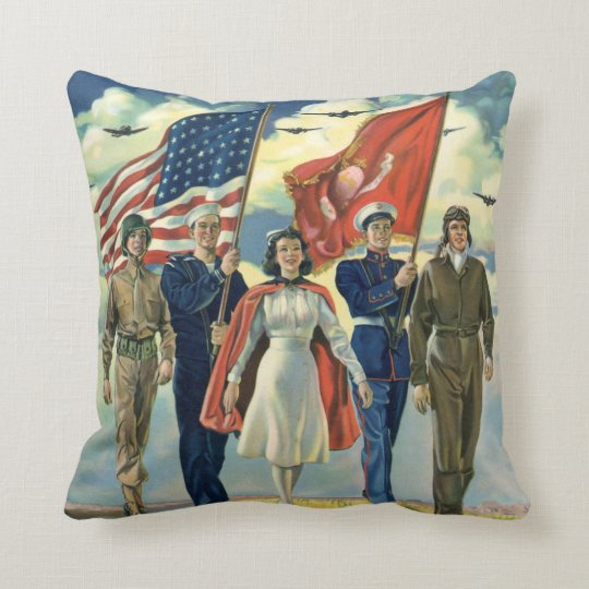 Vintage Patriotic, Proud Military Personnel Heros Throw Pillow