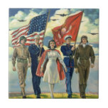 Vintage Patriotic, Proud Military Personnel Heros Small Square Tile