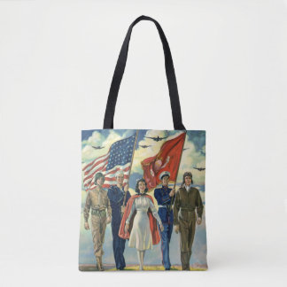 Vintage Patriotic, Proud Military Personnel Heros Tote Bag