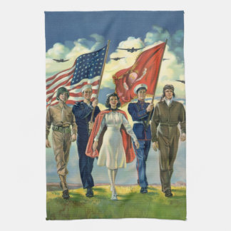 Vintage Patriotic, Proud Military Personnel Heros Towel