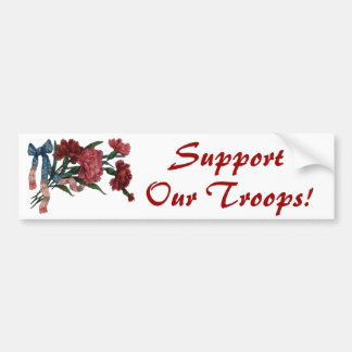 Vintage Patriotic Ribbon and Flowers Bumper Sticker