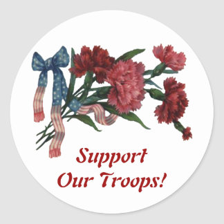 Vintage Patriotic Ribbon and Flowers Classic Round Sticker