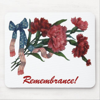 Vintage Patriotic Ribbon and Flowers Mouse Pad