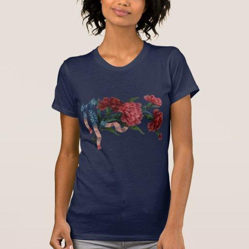Vintage Patriotic Ribbon and Flowers T-Shirt