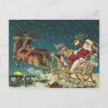 """Vintage Patriotic Santa and Sleigh Christmas Postcard<br><div class=""""desc"""">Send this postcard sporting a festive vintage image of a patriotic Santa and his reindeer as an economical and easy alternative to the traditional Christmas card. Just write your personal greeting on the back, address it (no envelopes to lick), add a stamp, and send--easy peasy. Perfect for when you want...</div>"""