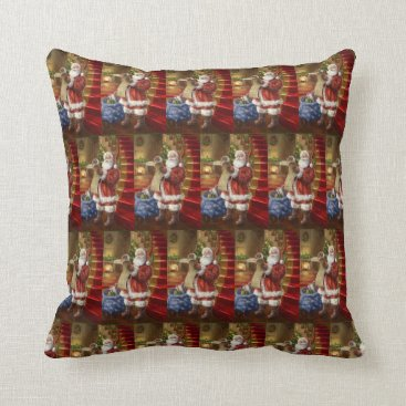 Vintage Patriotic Santa Checking His List Throw Pillow