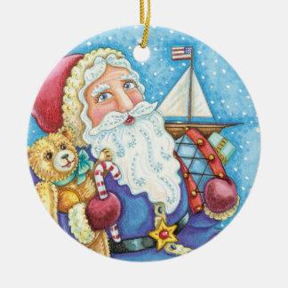 Vintage Patriotic Santa Claus Christmas Ornament
