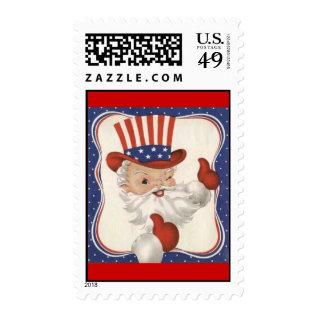 Vintage Patriotic Santa Claus Postage Stamps at Zazzle