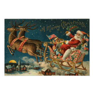 Vintage Patriotic Santa Poster