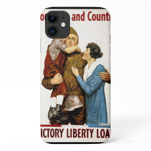 Vintage Patriotic Soldier and Family Poster Art iPhone 11 Case
