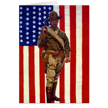 Vintage Patriotic Soldier with American Flag