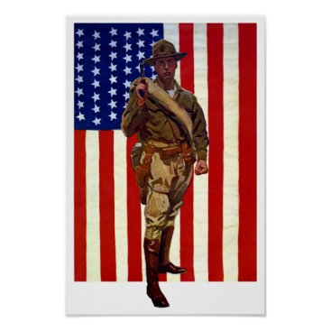 Vintage Patriotic Soldier with American Flag Poster