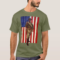 Vintage Patriotic Soldier with American Flag T-Shirt